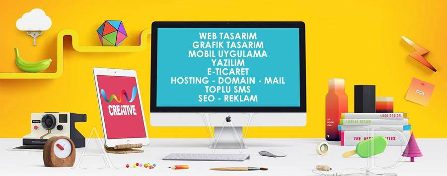 hizmetlerimiz, web tasarım, e-ticaret, web yazılım, mobil uygulama, domain, hosting, toplu sms, banner tasarımı, logo tasarımı, mail tasarımı